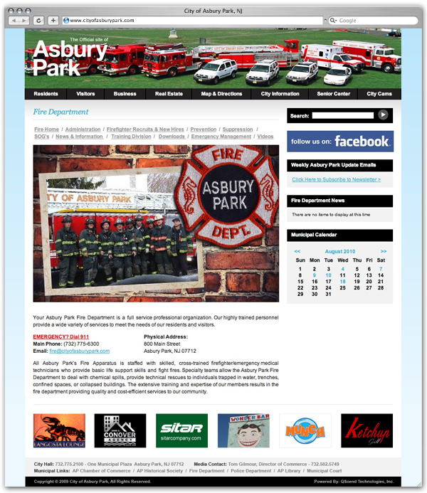 City of Asbury Park Fire Dept. page
