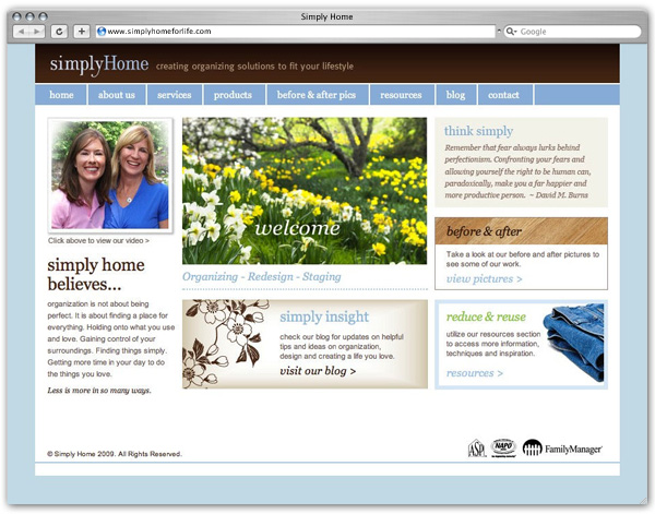 Simply Home home page